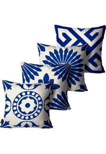 Kit Com 4 Capas Para Almofadas Premium Peluciada Mdecore Azulejo Português Azul 45X45Cm