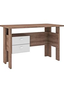 Mesa Para Computador Com 2 Gavetas 423 - Movelbento - Rustico / Branco