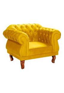 Poltrona Decorativa Chesterfield Suede Amarelo Meunovolar