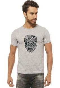 Camiseta Joss - Caveira Detalhes - Masculina - Masculino-Mescla