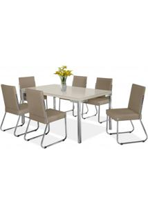 Conjunto Sala De Jantar Mesa Isis 6 Cadeiras Deise Aço Nobre Móveis Bege/Off White