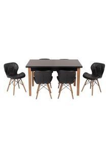 Conjunto Mesa De Jantar Luiza 135Cm Preta Com 6 Cadeiras Slim - Preto