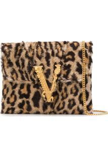 Versace Clutch Virtus Aniaml Print - Marrom