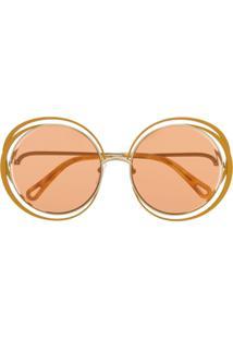 Chloé Eyewear Óculos De Sol 'Carlina' - Amarelo
