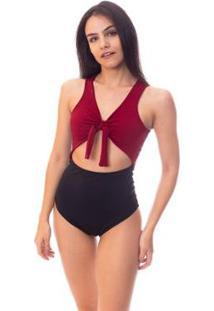 Body Bicolor Com Amarração E Recorte Na Barriga Feminino - Feminino-Preto+Vermelho