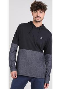Camiseta Masculina Com Capuz Manga Longa Preta
