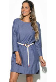 Vestido Jeans Com Detalhes Azul