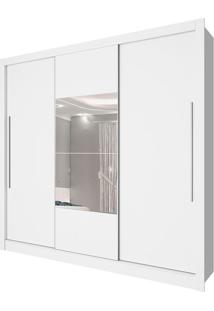Guarda Roupa Genebra 3 Portas Com Espelho Neve