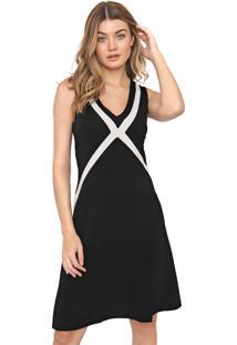 Vestido Calvin Klein Curto Recortes Preto/Branco
