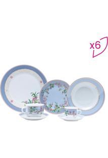 Aparelho De Jantar Cléres- Branco & Azul Claro- 42Pçrojemac