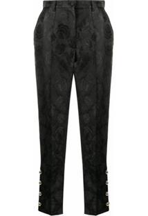 Dolce & Gabbana Calça Jacquard Com Estampa De Rosa - Preto