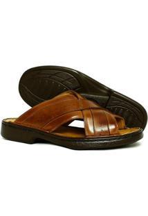 Sandálias Couro Galway Masculina - Masculino-Caramelo