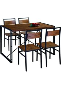 Conjunto De Mesa Wooden Com 4 Cadeiras Preto E Marrom
