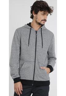 Blusão Masculino Listrado Com Capuz Em Moletom Preto
