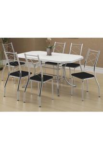 Mesa 1507 Branca Cromada Com 6 Cadeiras 1710 Preto Carraro