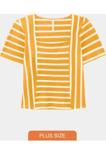 Blusa Plus Size Canelada Amarelo