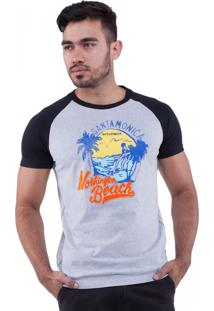 Camiseta Rota Do Mar Raglan Estampa Santa Mônica Beach Preto
