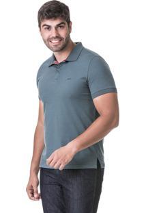 Camisa Hifen Polo Meia Malha Detalhe Xadrez Verde