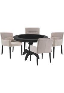 Mesa De Jogos Carteado Montreal Redonda Tampo Reversível Preto Com 4 Cadeiras Vicenza Nude - Gran Belo