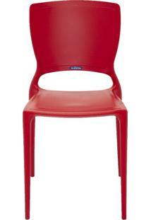 Cadeira Sofia Sem Braço Encosto Fechado Vermelho Tramontina