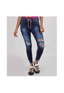 Calça Jeans Feminina Cigarrete Cintura Média Destroyed Com Cinto Cadarço Azul Escuro