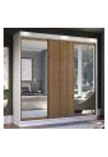 Guarda-Roupa Casal Madesa Istambul 3 Portas De Correr Com Espelhos 3 Gavetas - Branco/Rustic