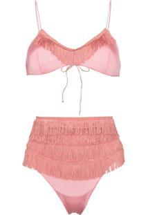 Oséree Top De Biquíni Com Detalhe De Franjas - Rosa