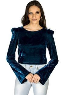 Blusa Veludo Molhado Colcci - Feminino-Marinho