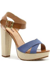 Sandalia Zariff Shoes Salto Bloco Numeracao Especial - Feminino-Azul