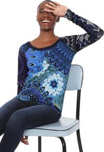Blusa Desigual Cris Rep Azul-Marinho