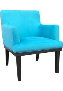 Poltrona Decorativa Vitória Para Sala E Recepção Suede Azul Tiffany - D'Rossi