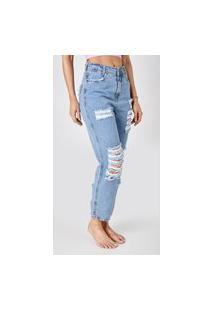 Calça Jeans Outlet Premium Mom Lya Azul