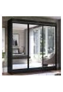 Guarda-Roupa Casal Madesa Istambul 3 Portas De Correr De Espelho 3 Gavetas - Preto