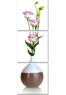 Quadro Oppen House 150X50Cm Vaso Com Flores Rosas Brancas Decorativo Interiores