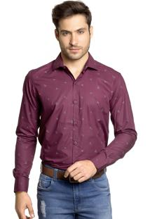 Camisa Tony Menswear Origami Slim Bordô