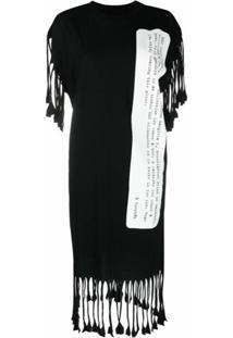 Mm6 Maison Margiela Vestido Com Estampa Description E Franjas - Preto