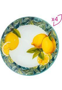Jogo De Pratos Lemons Para Sobremesa- Branco & Amarelo