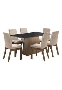 Conjunto Sala De Jantar Madesa Rebeca Mesa Tampo De Madeira Com 6 Cadeiras Rustic/Preto/Fendi Rustic/Preto/Fendi
