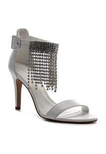 Sandália Couro Shoestock Noiva Franja Strass Feminina