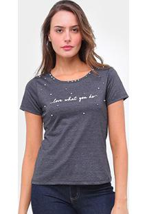 Camiseta Lecimar Bordado Aplicação Feminina - Feminino-Preto