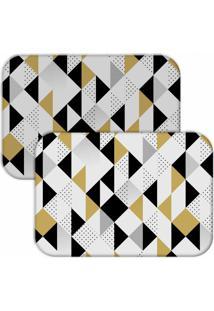 Jogo Americano Love Decor Wevans Triângulos Preto/Amarelo - Kanui