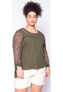 Blusa Almaria Plus Size Lasala Laço Liso Verde