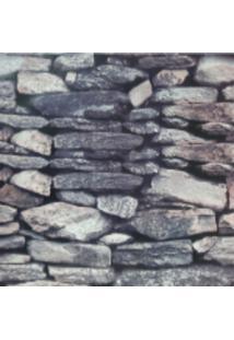 Kit 3 Rolos De Papel De Parede Fwb Lavável 3D Pedra Rustico Cinza - Kanui