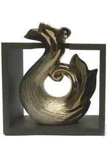 Vaso Decorativo Cerâmica Suporte Madeira Roma Cor Bronze