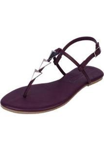 Sandália Rasteira Mercedita Shoes Flat Pirâmide Feminina - Feminino-Roxo