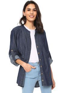 Camisa Jeans Lunender Pregas Azul