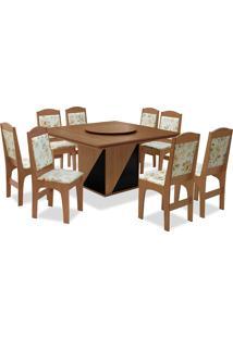 Conjunto De Mesa Para Sala De Jantar Com 8 Cadeiras Lisse-Dobuê - Cedro / Preto / Bege Floral
