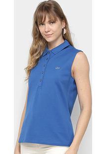 Camisa Polo Lacoste Regata Com Botões Feminina - Feminino-Azul