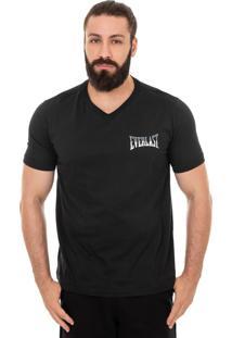 Camiseta Everlast Decote V Logo Bicolor Pequeno Preto