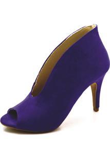 Sapato Scarpin/ Abotinado Toretto Camurça Azul.